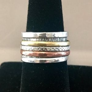 Sterling Mixed Metal Spinner Ring 8
